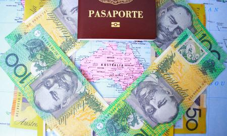 Passport and Australian dollars in Australia map background
