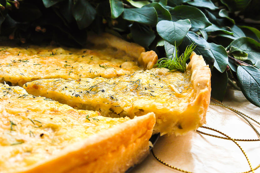 Short Crust Pastry Savory Pie Or Tart With White Cabbage, Chicke