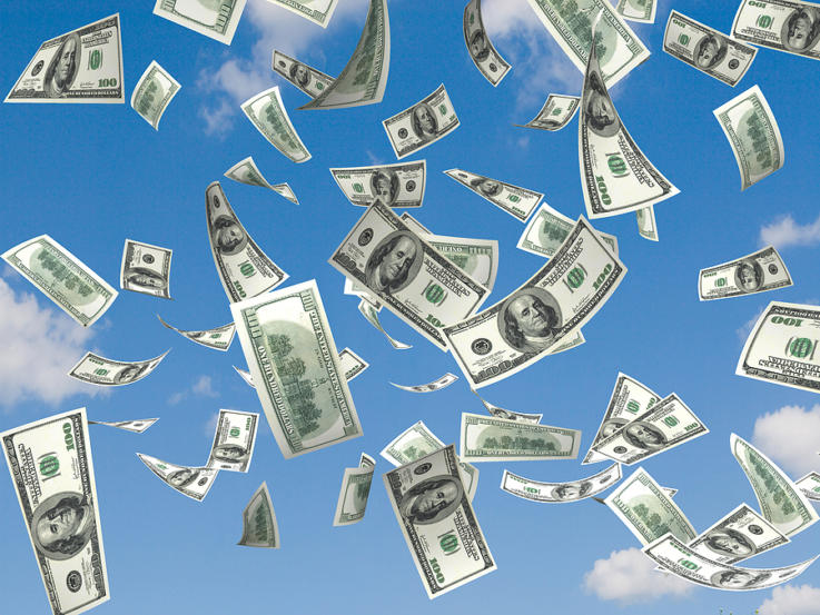 money falling in the sky background