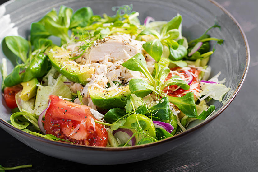 Fresh Salad With Chicken Breast, Corn Salad, Cucumber, Avocado A