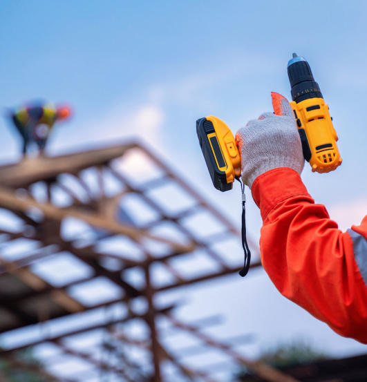 Roofing Tools, Roofer Worker Holding Electric Drill Used On New